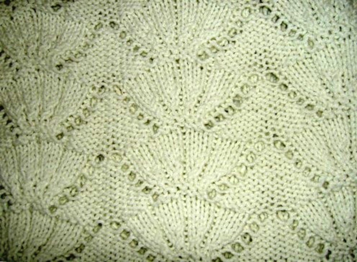 A lacy knitted panel.