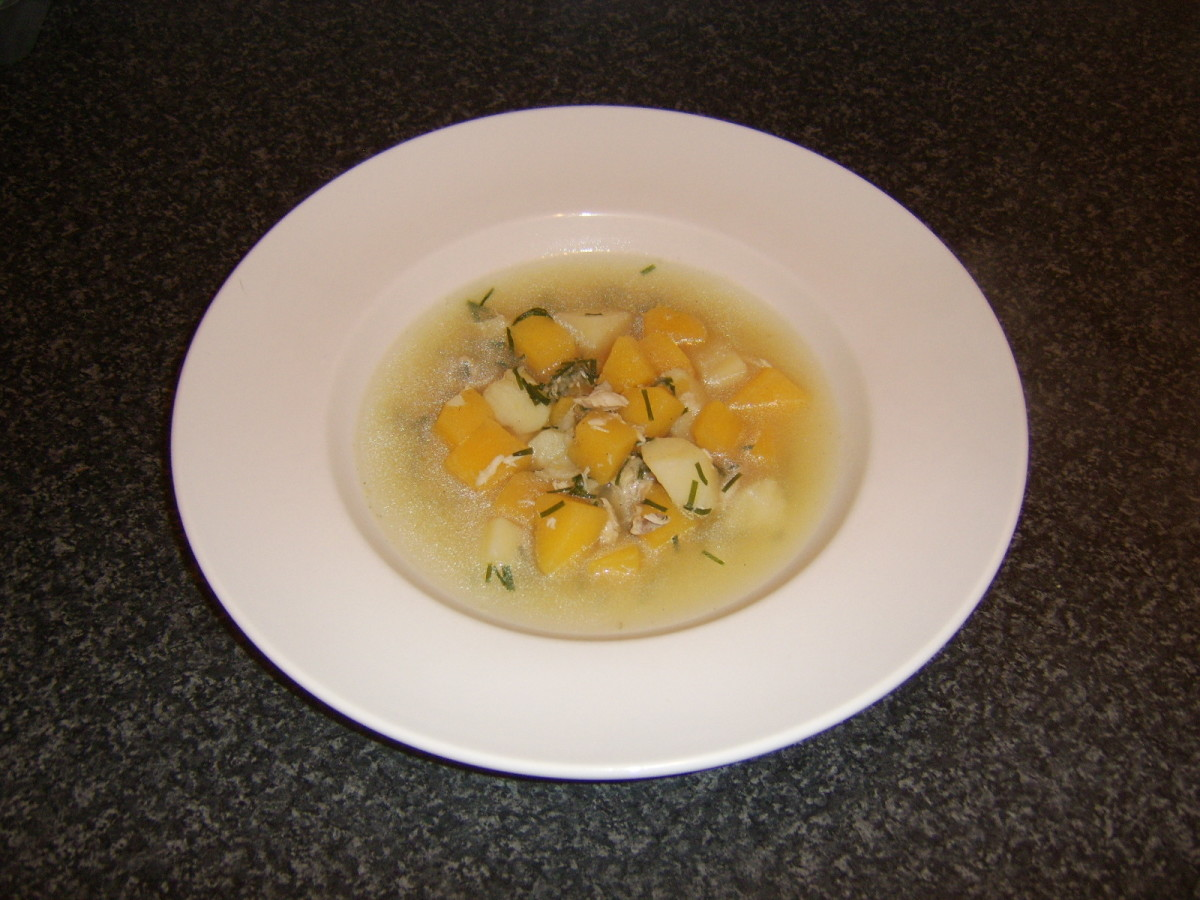 Potatoes, Swede turnip and chives are added to the chicken broth for this chicken and clapshot soup