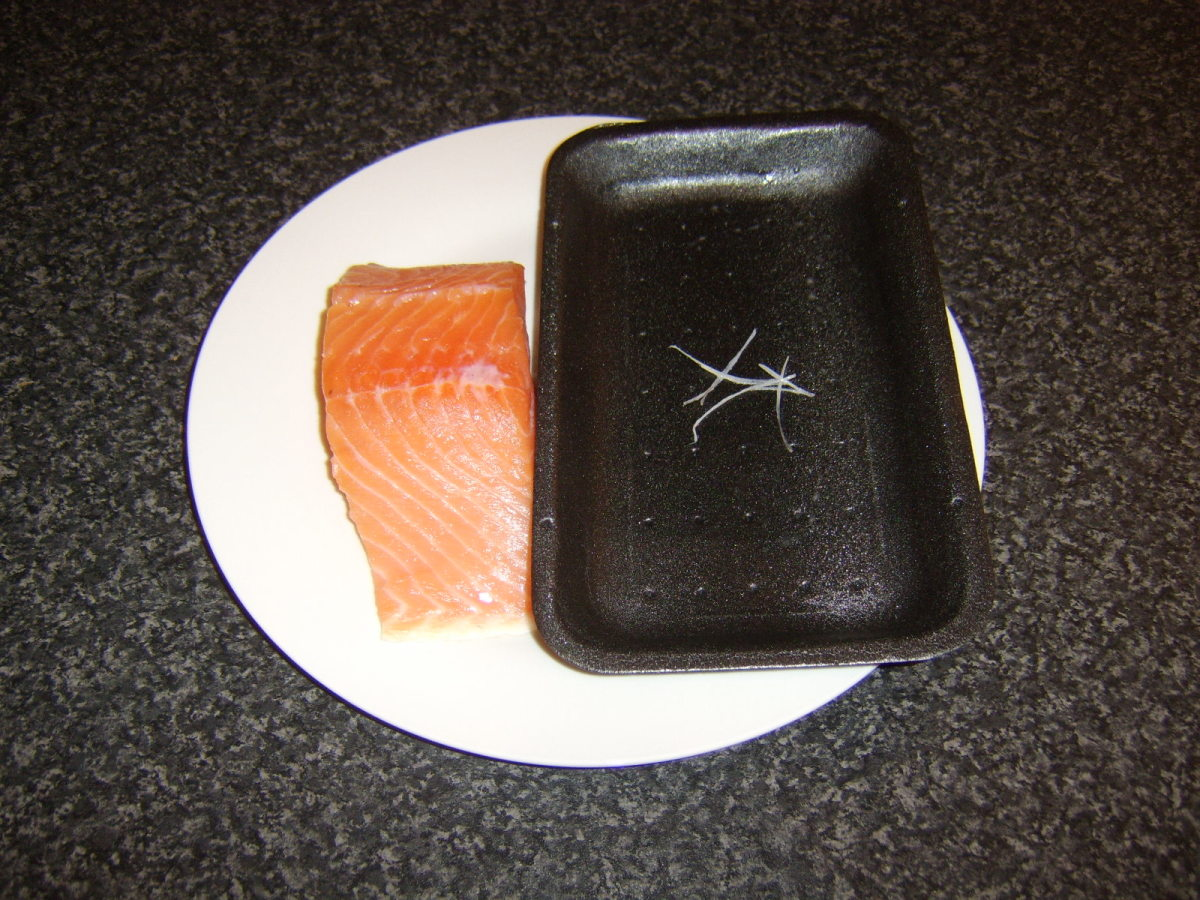 Pinbones removed from salmon fillet