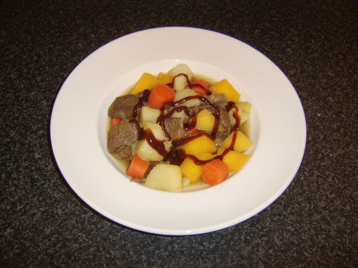 Shin of beef and root vegetable stew is served here with optional HP Sauce