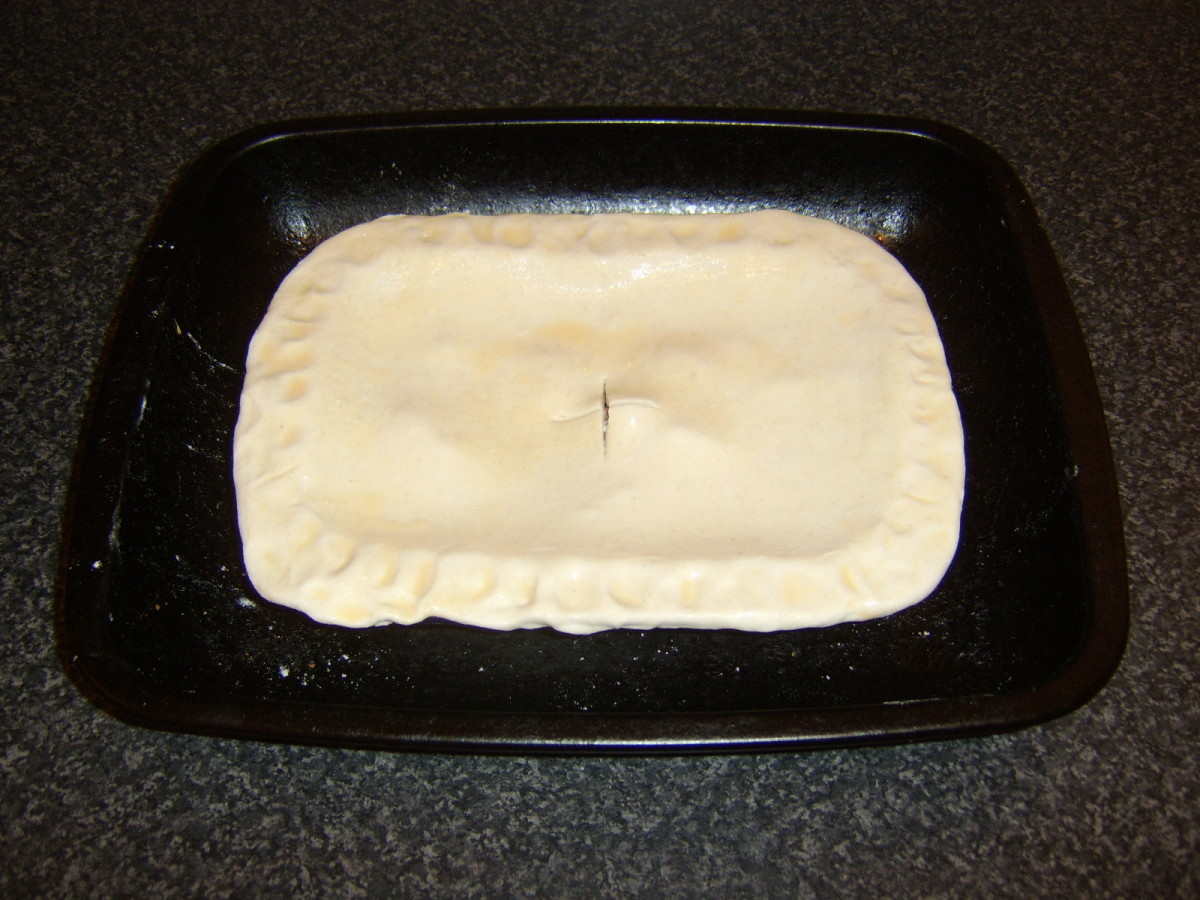 Glazed steak pie ready for the oven