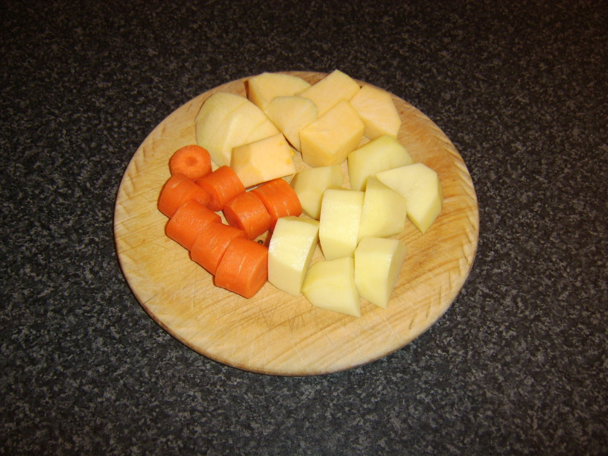 Prepared vegetables for stew