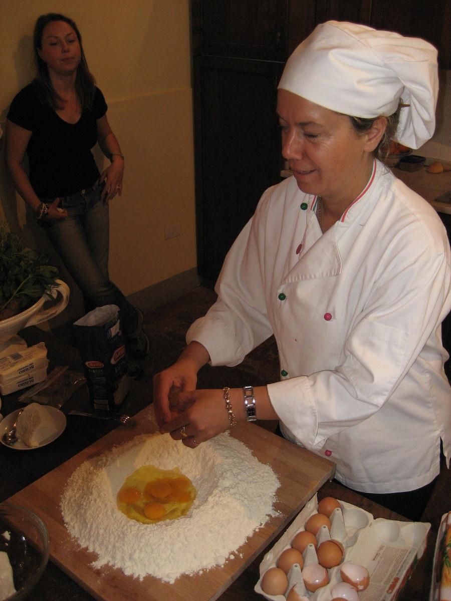 Chef Giuseppina demonstrates how to make pasta