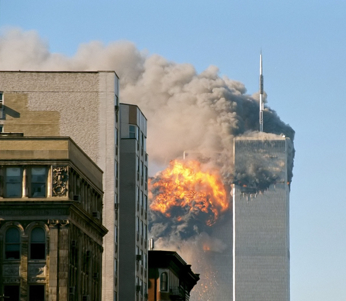 United Airlines Flight 175 crashes into the south tower of the World Trade Center complex on 09/11/01, creating an explosion that would eventually bring the tower down.