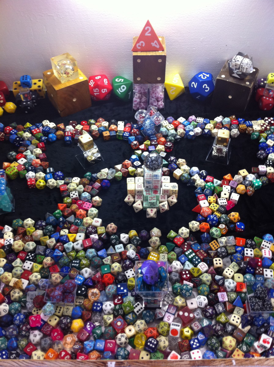 Close up my dice collection submitted to the county fair.