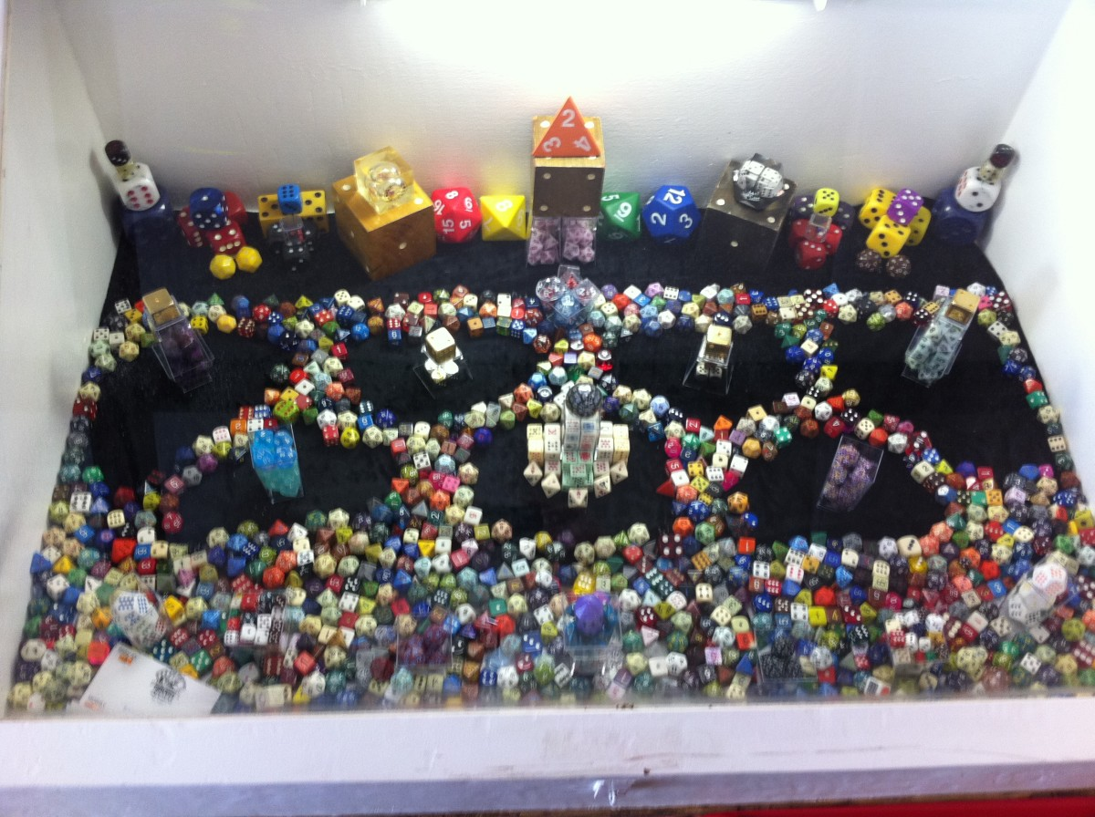 My entire dice collection displayed at the county fair.