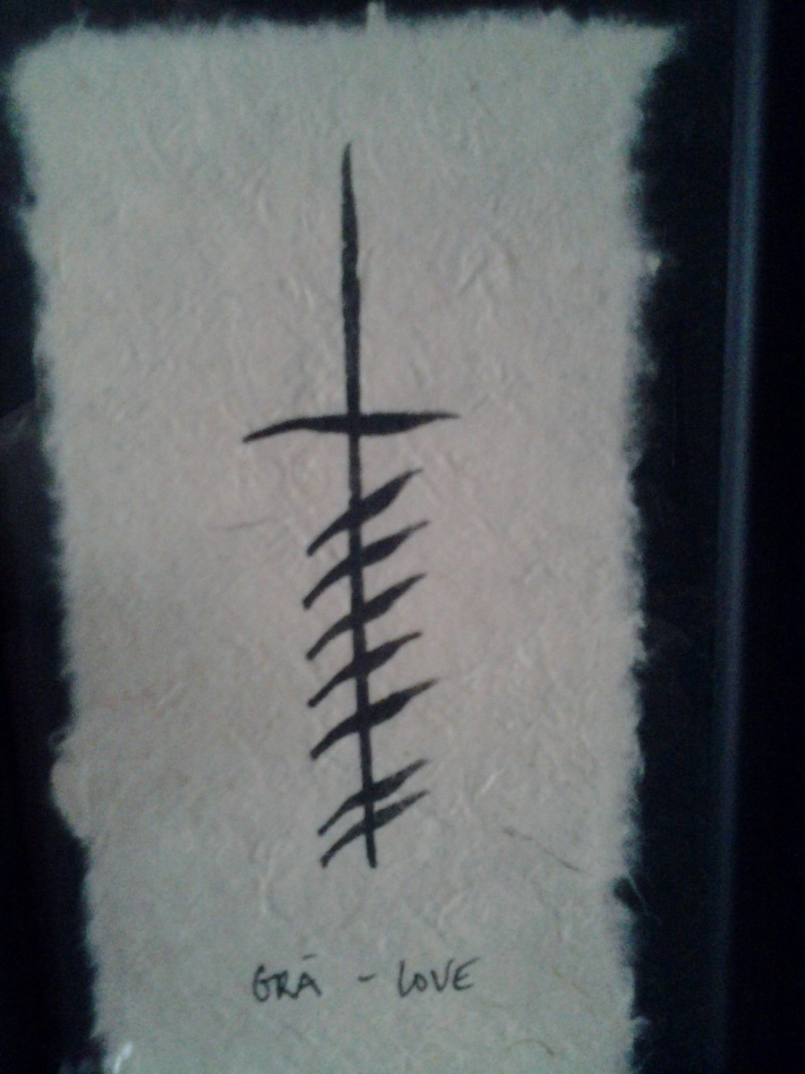This is called an Ogham Wish,. It's a series of 'words' written in the first Irish alphabet. The word and symbol for Love in Celtic was gra'. This Ogham Wish is handmade by a woman in Ireland.