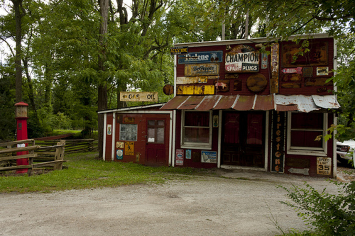 Historic gas station maintained as art at Clifton Gorge.