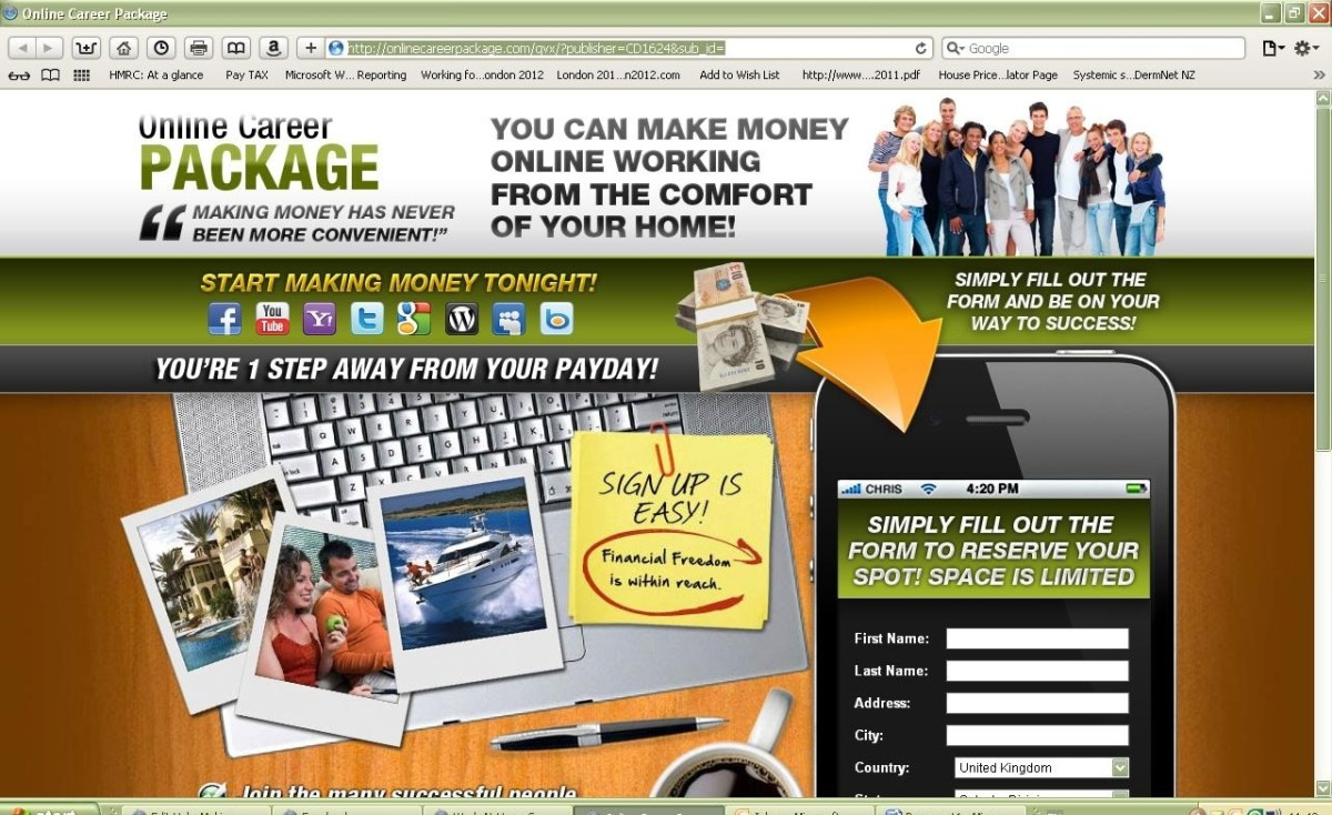 Screen grab of the 'Online Career Package'