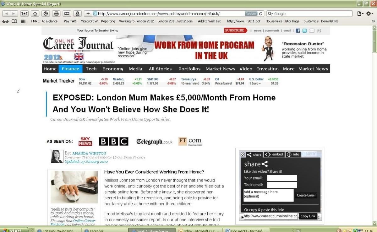 Screen grab of the 'Online Career Journal'