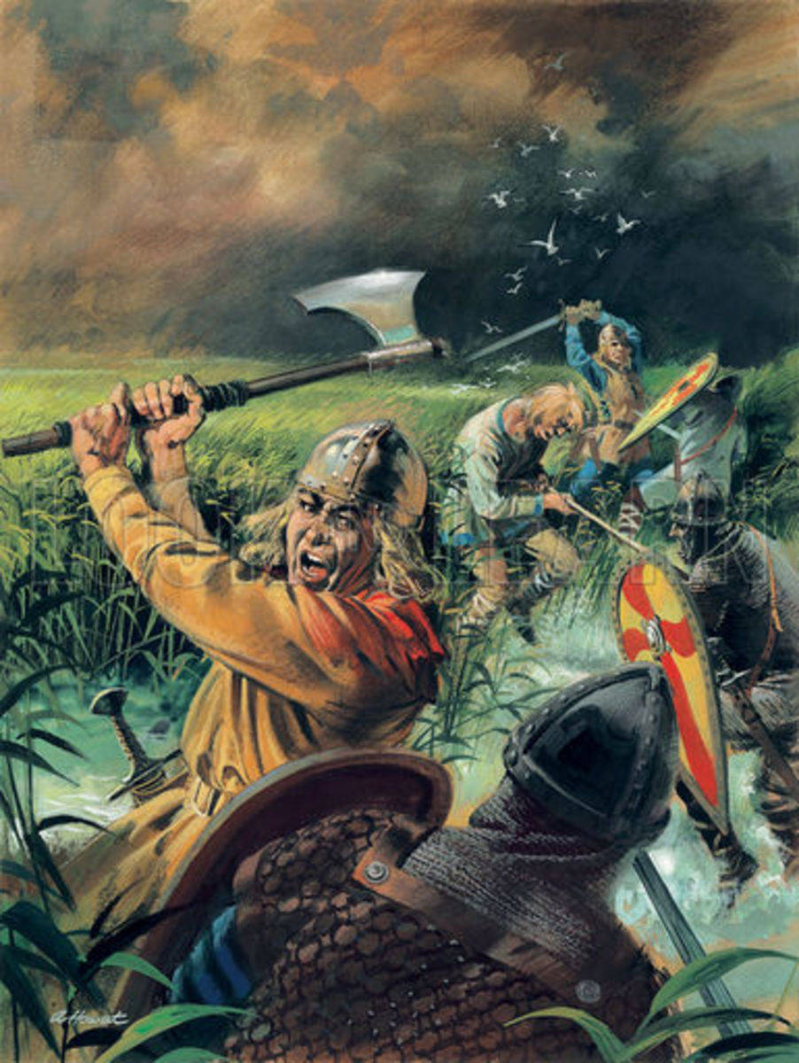 Hereward at Ely dealing death to his Norman assailants. Hereward avoided capture by William by hiding in the woodlands of East Anglia and then sailing for Flanders. A new outlook on the warrior-creed was born...
