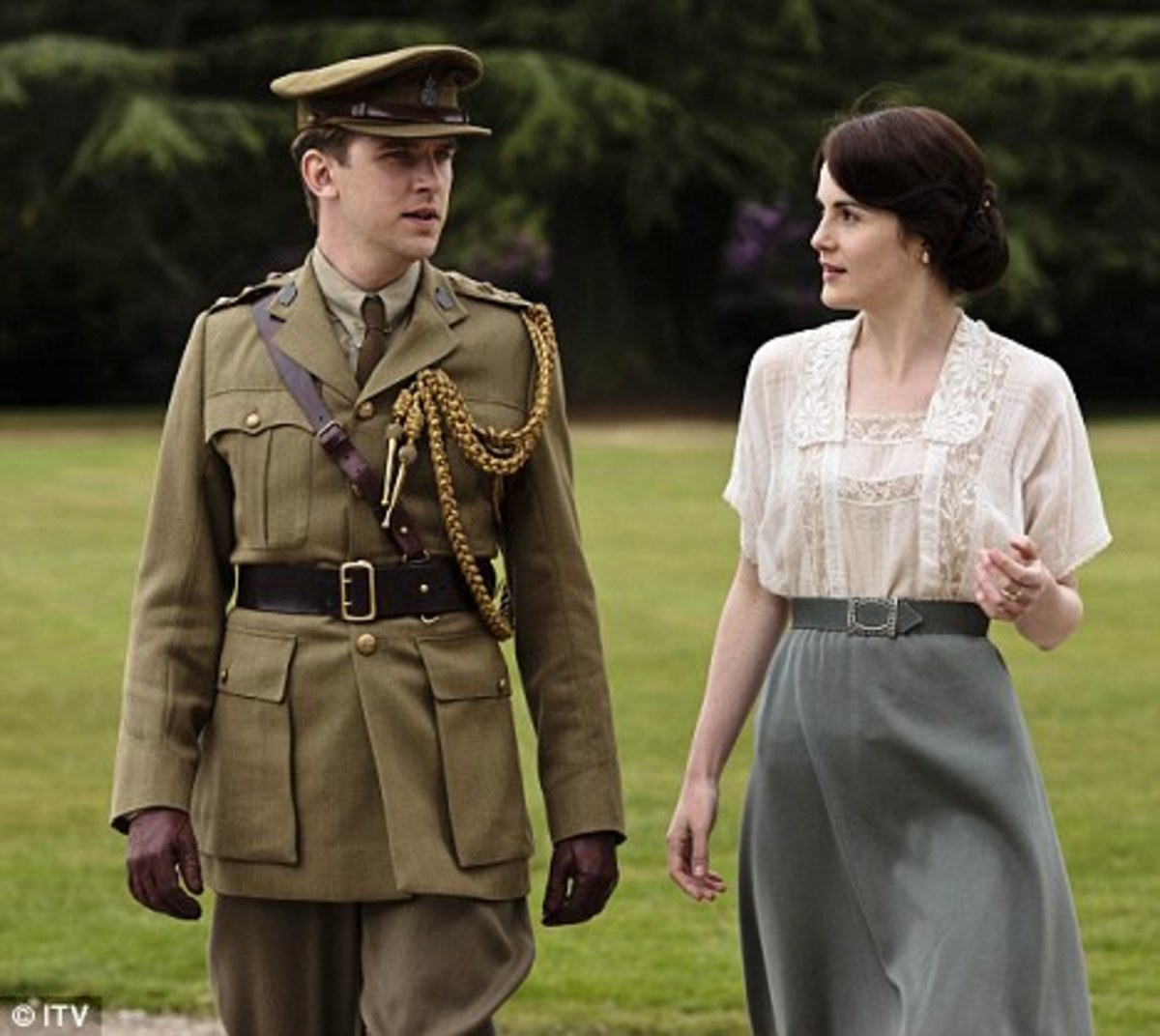 Mary Walking with her Beloved Matthew in the Downton Garden