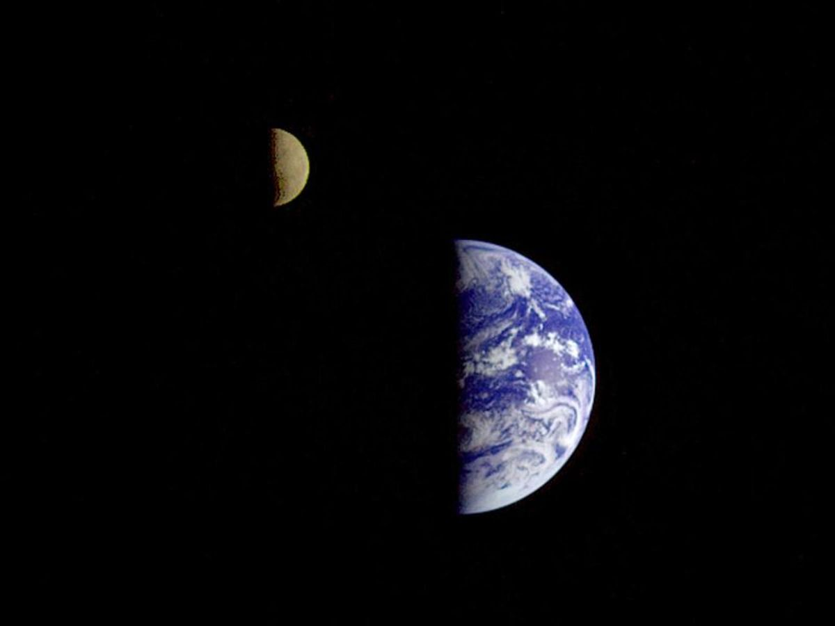 This picture of the Earth and Moon in a single frame was taken by the Galileo spacecraft from about 3.9 million miles away.