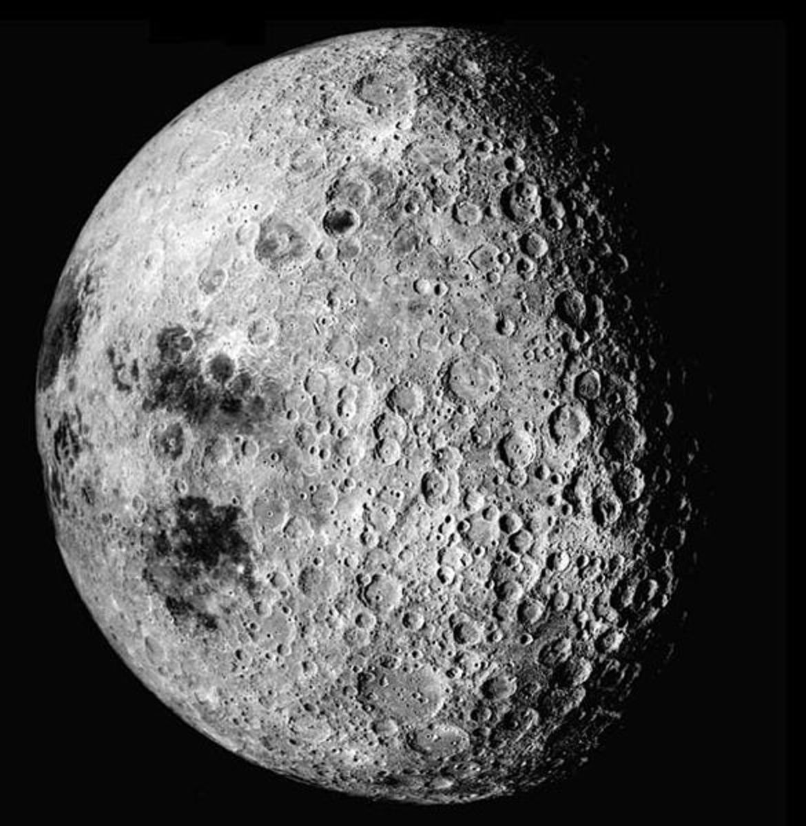 The far side of the moon is heavily pockmarked with impact craters.