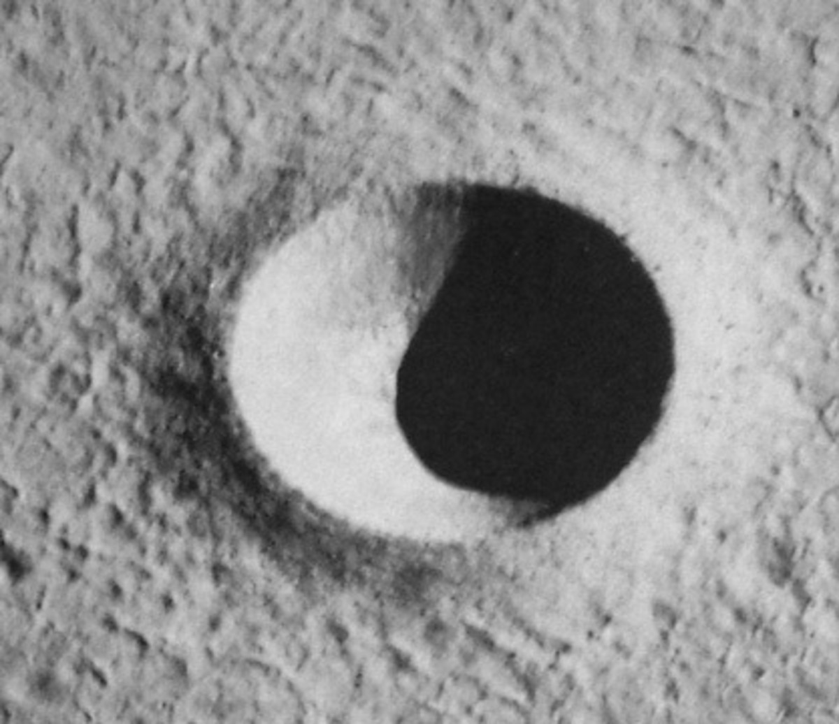A simple lunar crater; circular and bowl-shaped.