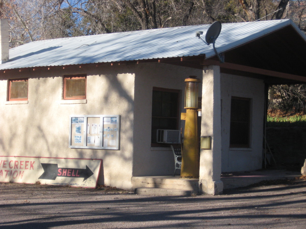 Old gas station in Portal. Note the Shell sign and gas pump.
