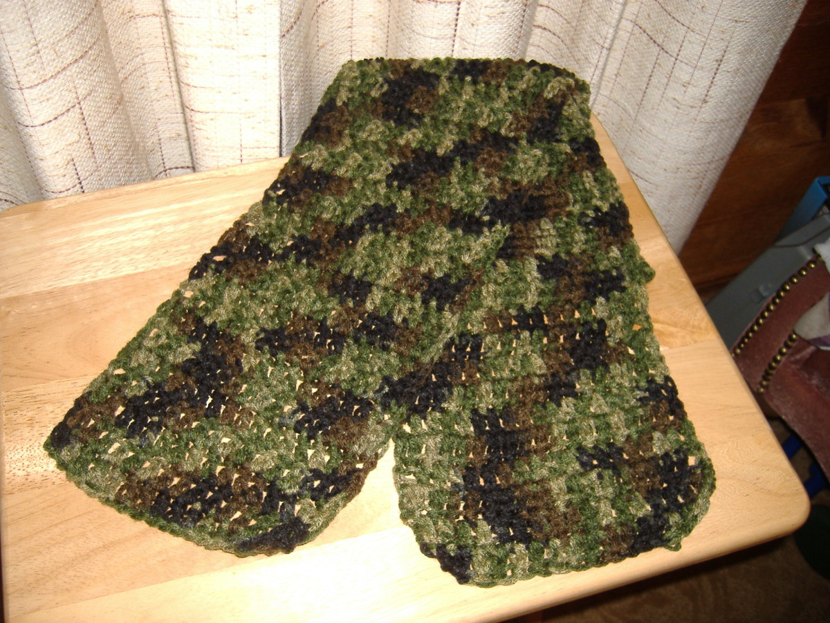 Scarf made using camouflage yarn. This gives you an idea of how your scarf will look using any variegated yarn.