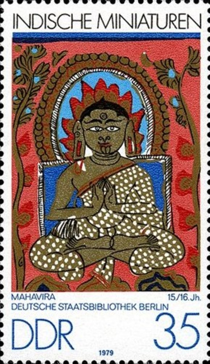DDR (German Democratic Republic) issued a postal stamp on 5th August 1979 to honor Indian miniature paintings. The beautiful stamp portrays miniature painting of Mahavira, the last Jina.