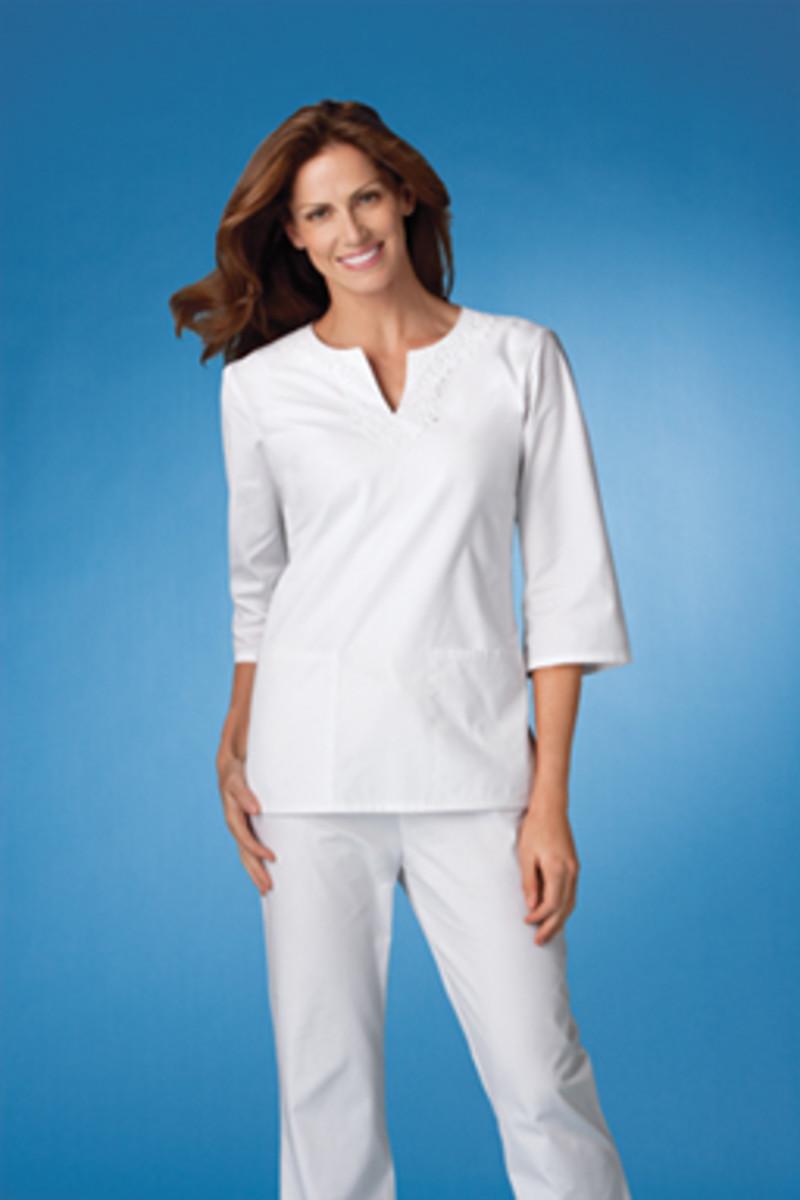 Novelty Keyhole Neck 3/4 Sleeve White Tunic from Cherokee