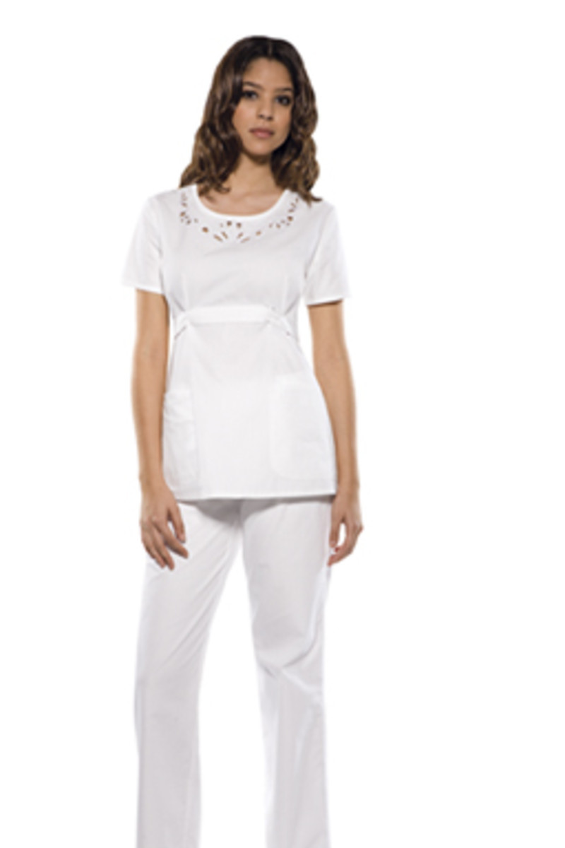 Baby Phat white scrub top with feline logo embroidery