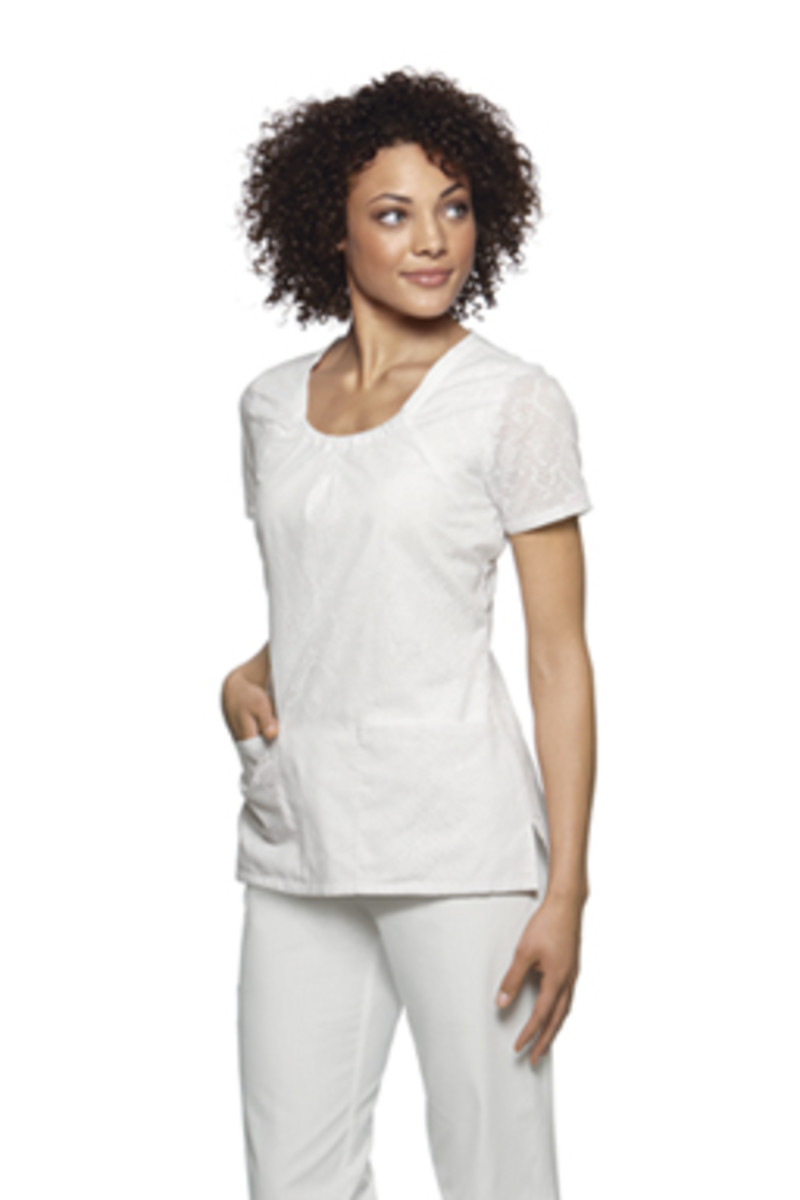 Baby Phat Scoop Neck Snakeskin Burn-out White Scrub Top