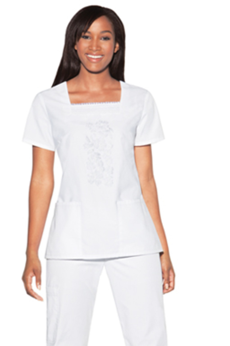 Embroidered Square Neck White Scrub Top