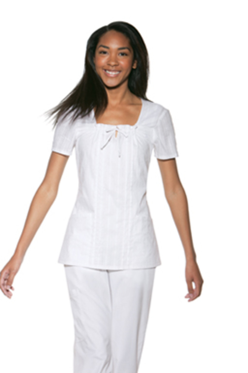 Skechers White Square Neck Nurse Scrub Top