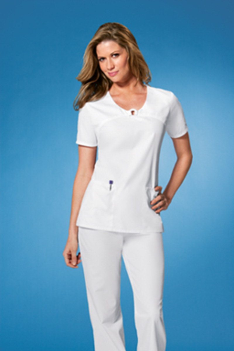 White V-Neck Front Yoke Scrub Top by Cherokee