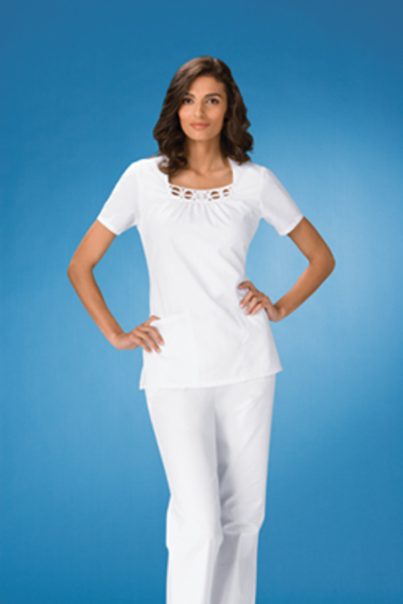 Cherokee Square Neck White Scrub Top