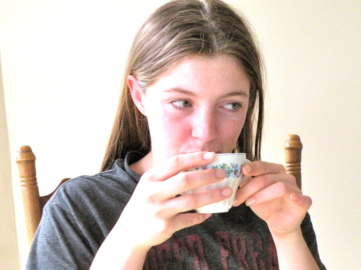Savoring the first cup of coffee in the morning.