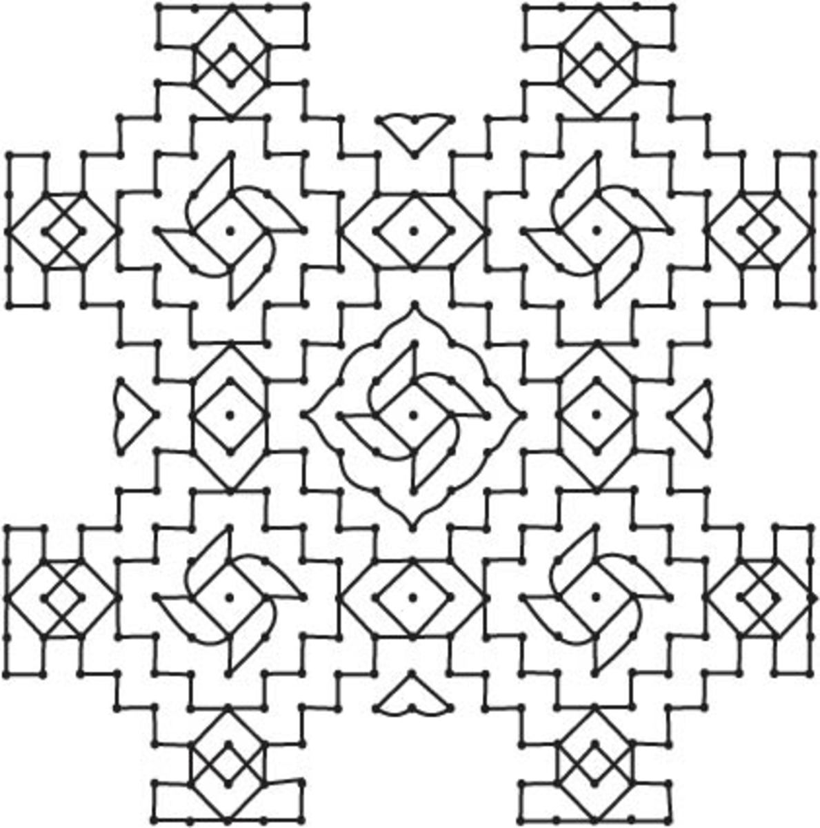 Elaborate design left as plain line drawing. Dots are first counted and kept,and then the lines are joined.