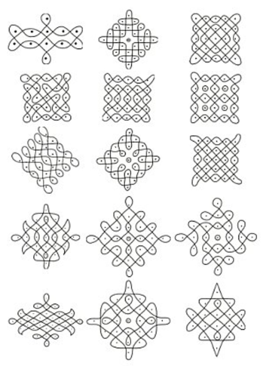 In these designs,specific number of dots are used to weave a design around them.