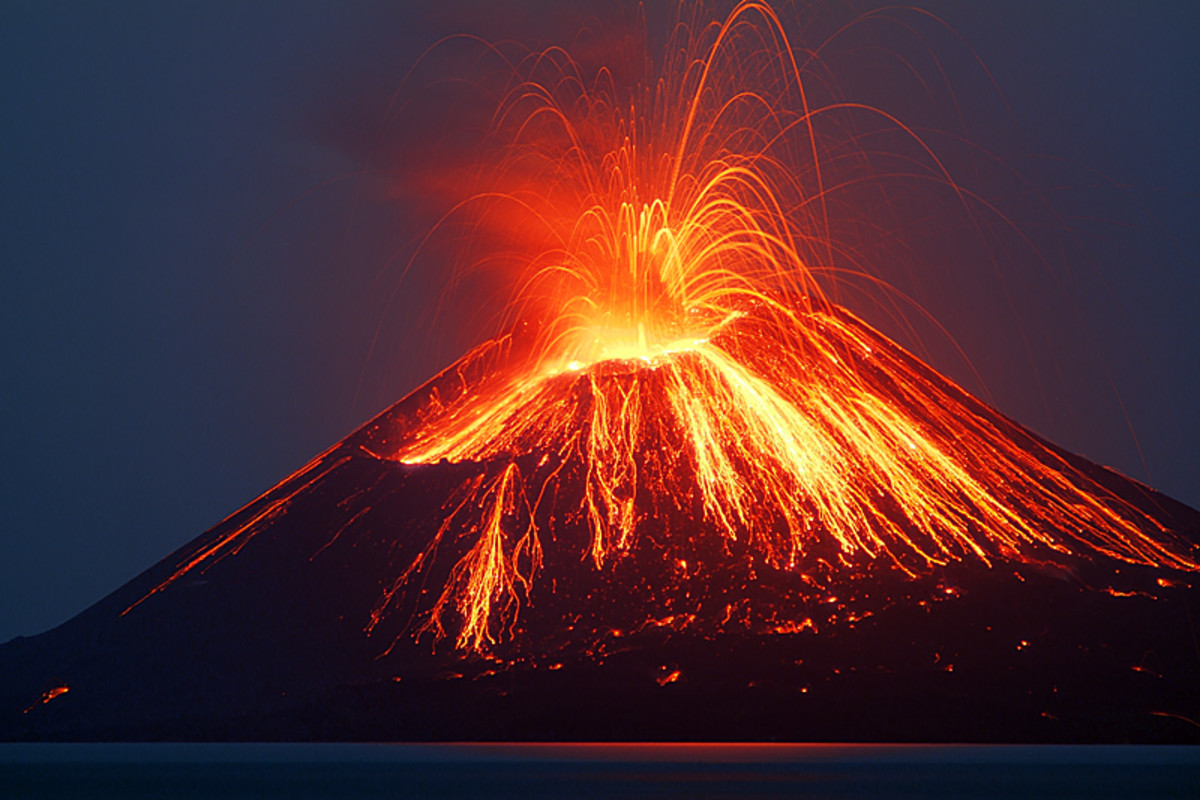 Anak Krakatau erupting at night
