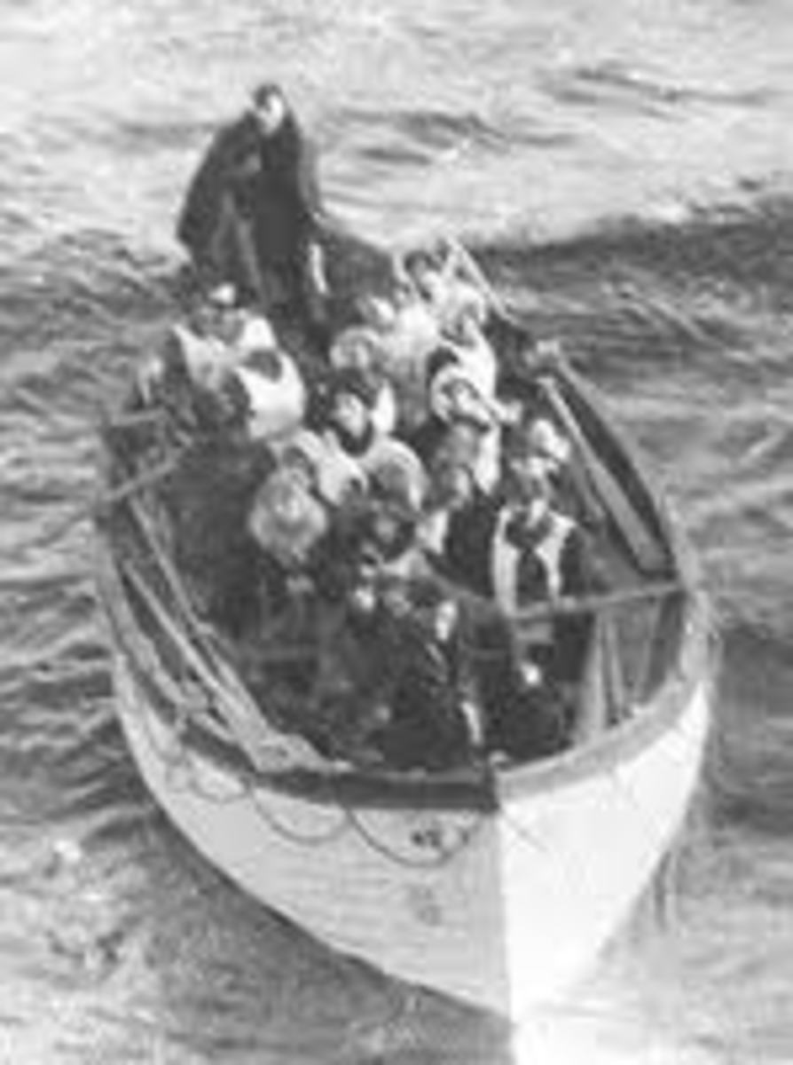 Historic photo of survivors of Titanic huddled in lifeboat.