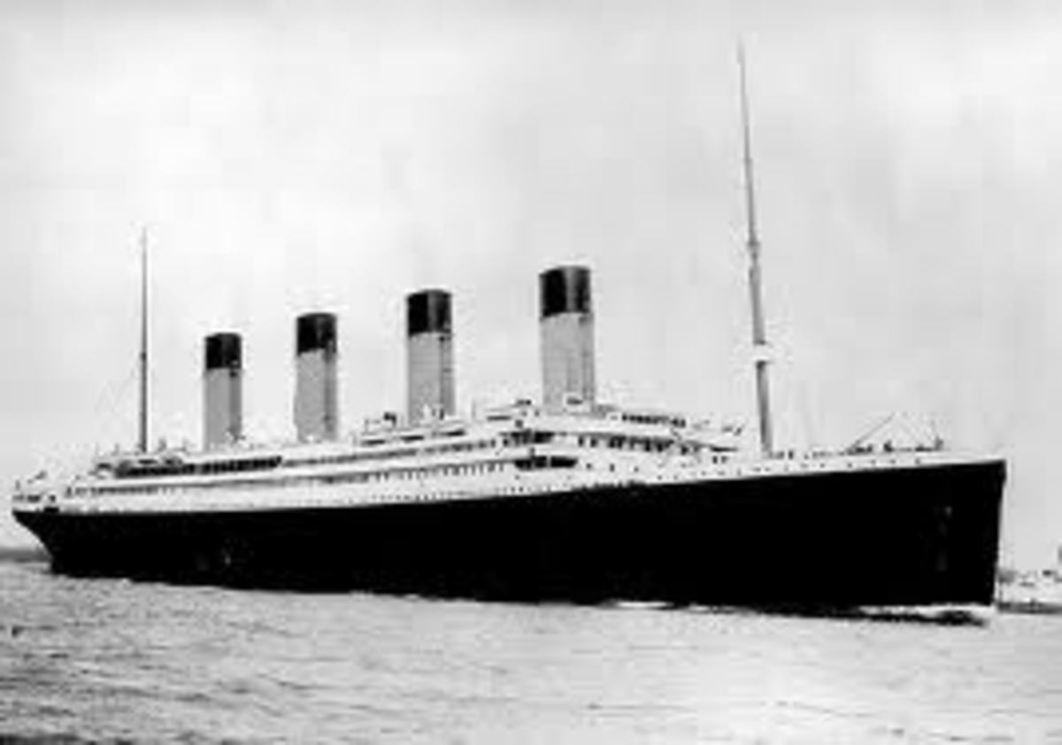 The famous ship Titanic at sea in 1912.