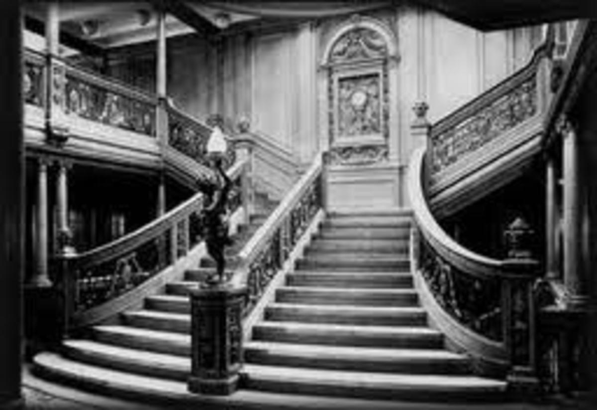 The magnificent staircase in the First Class area of the Titanic.