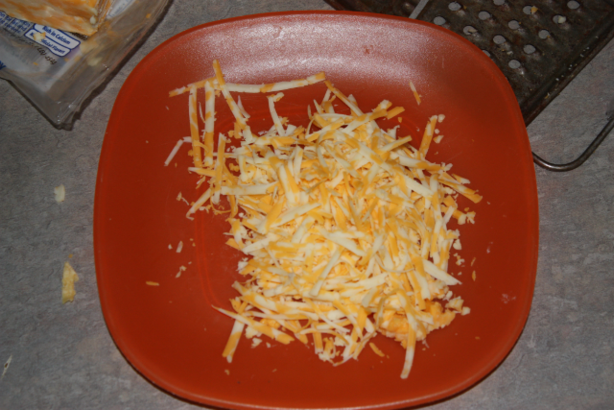 Grated cheddar-jack cheese.