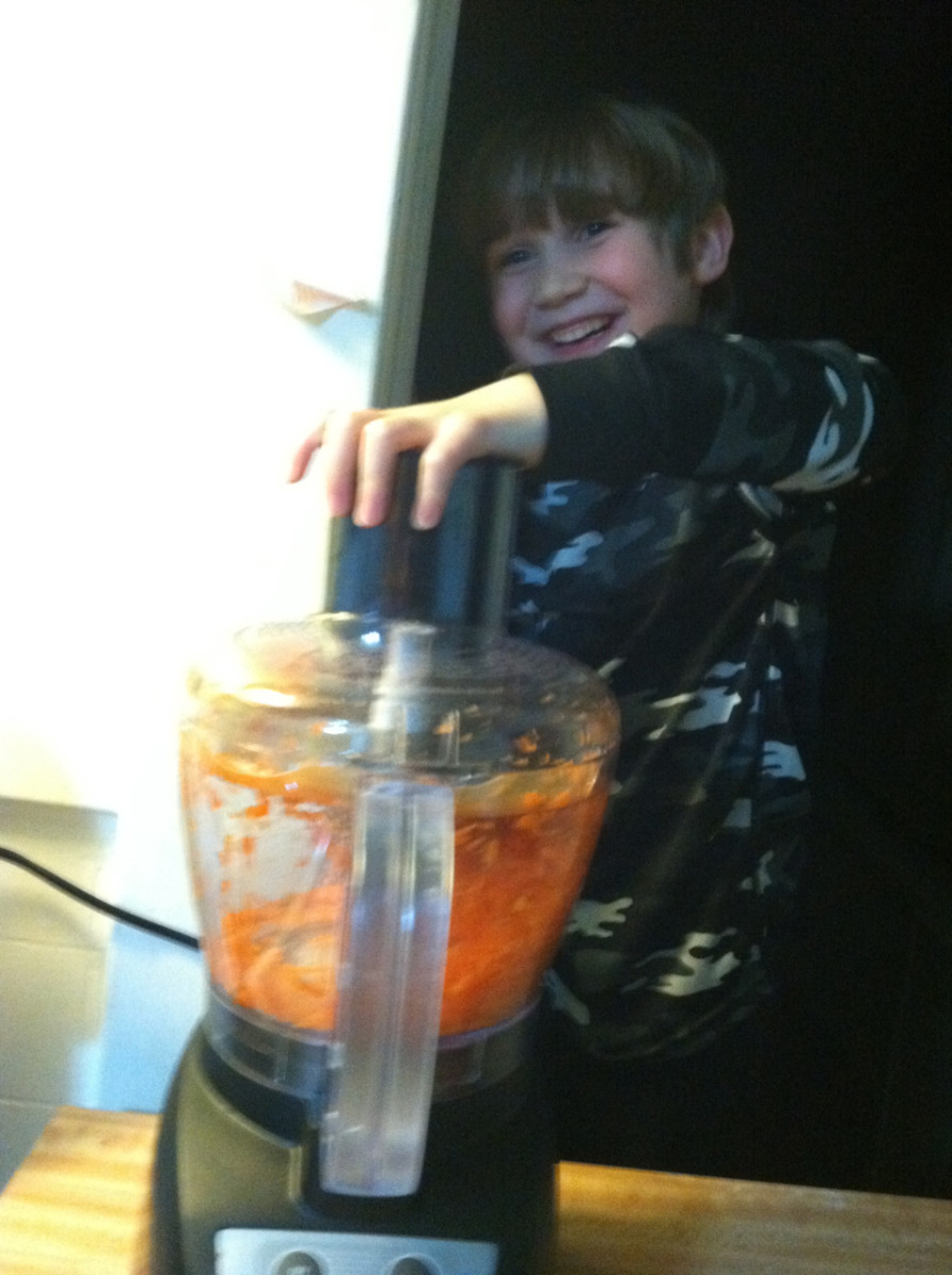 Shredding carrots using food processor.