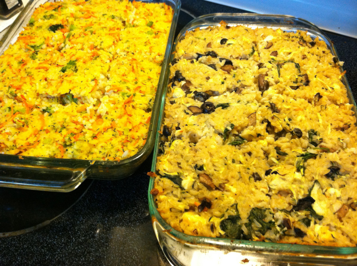 Finished veggie, rice & cheese casseroles.