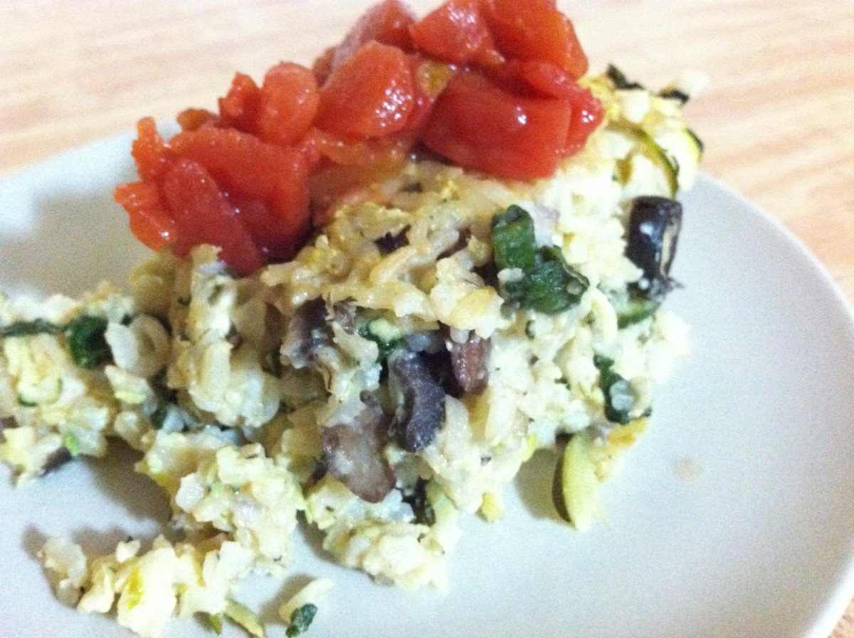 Spinach, Zucchini, Mushroom, & Feta Cheese with Brown Rice Casserole Topped with Diced Tomatoes