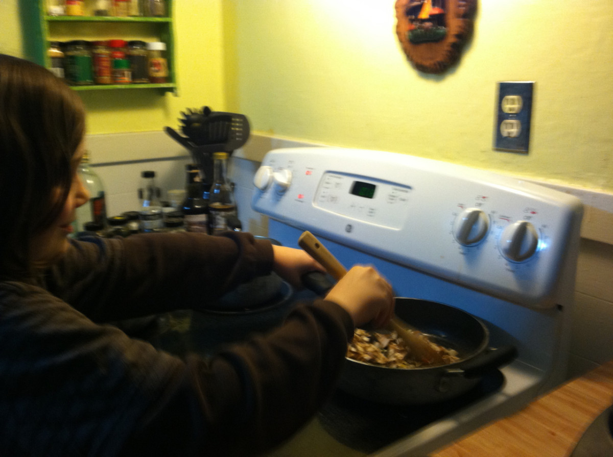 Older children can help stir things on the stove top.