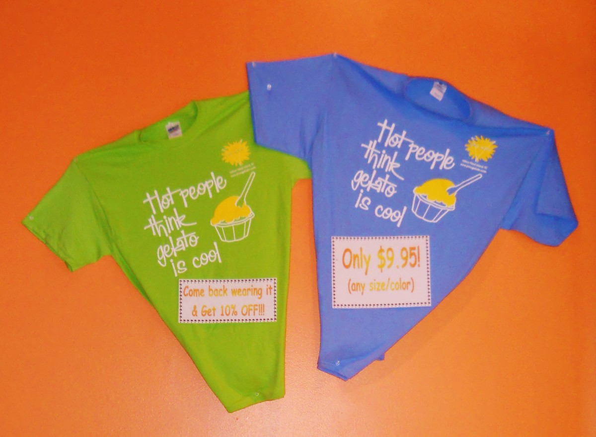 The Pino Gelato T-Shirts are bright and colorful and if you wear one into the shop you get 10% off your next purchase.