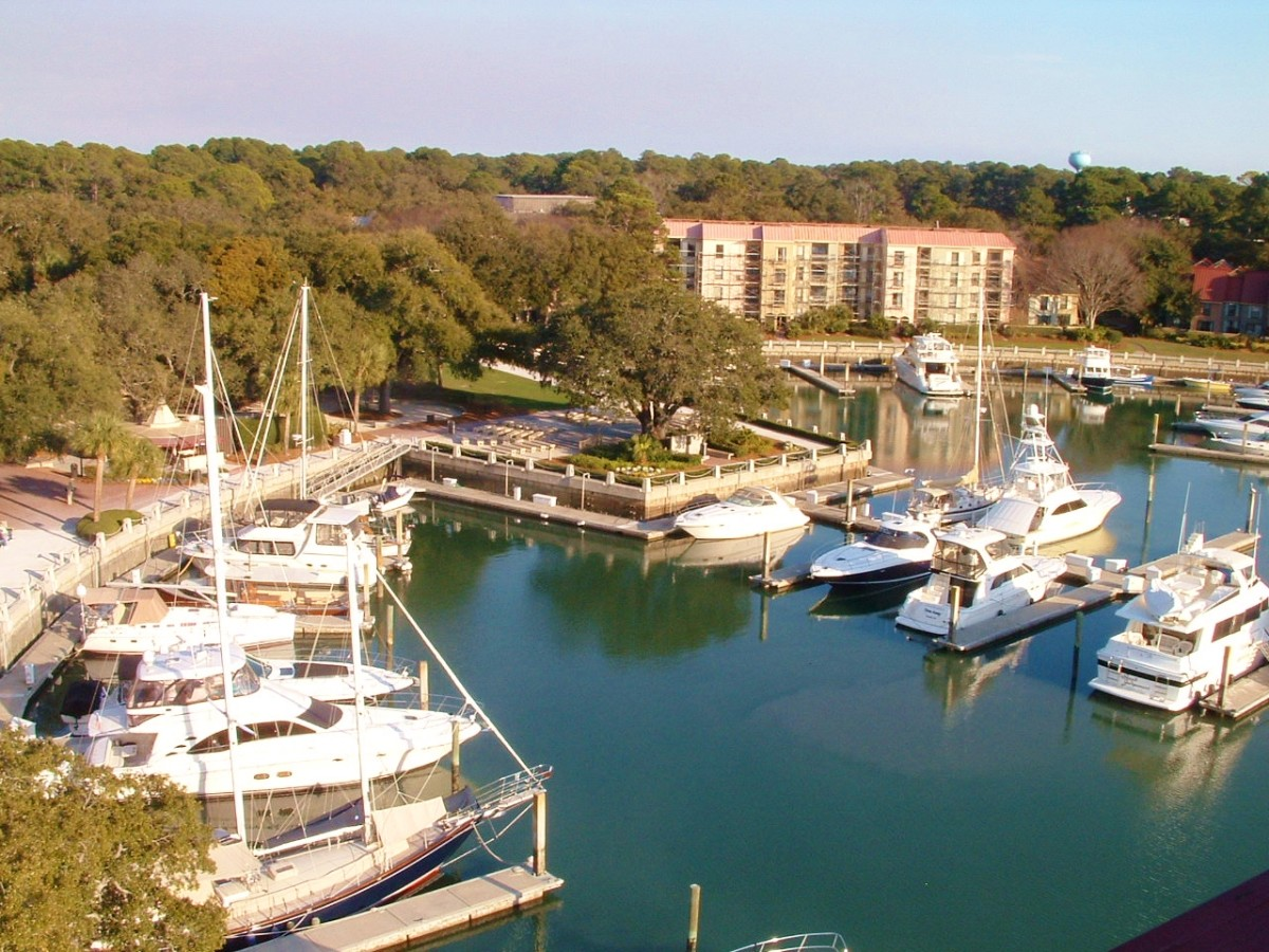 View from the top looking down on Harbour Town Marina. Note that a live oak tree was preserved during the construction of the harbour which was orignally designed to be a perfect circle.
