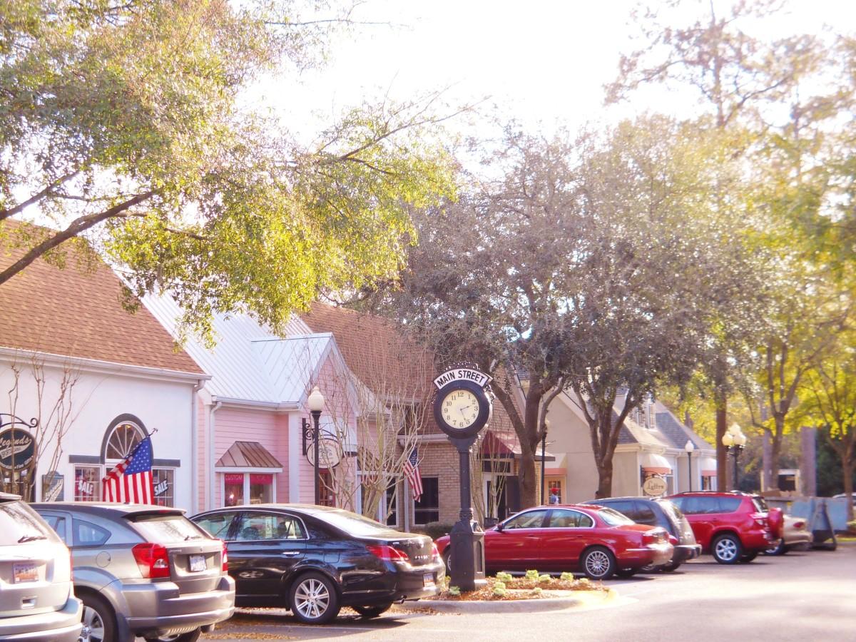 View of Main Street Village shops.