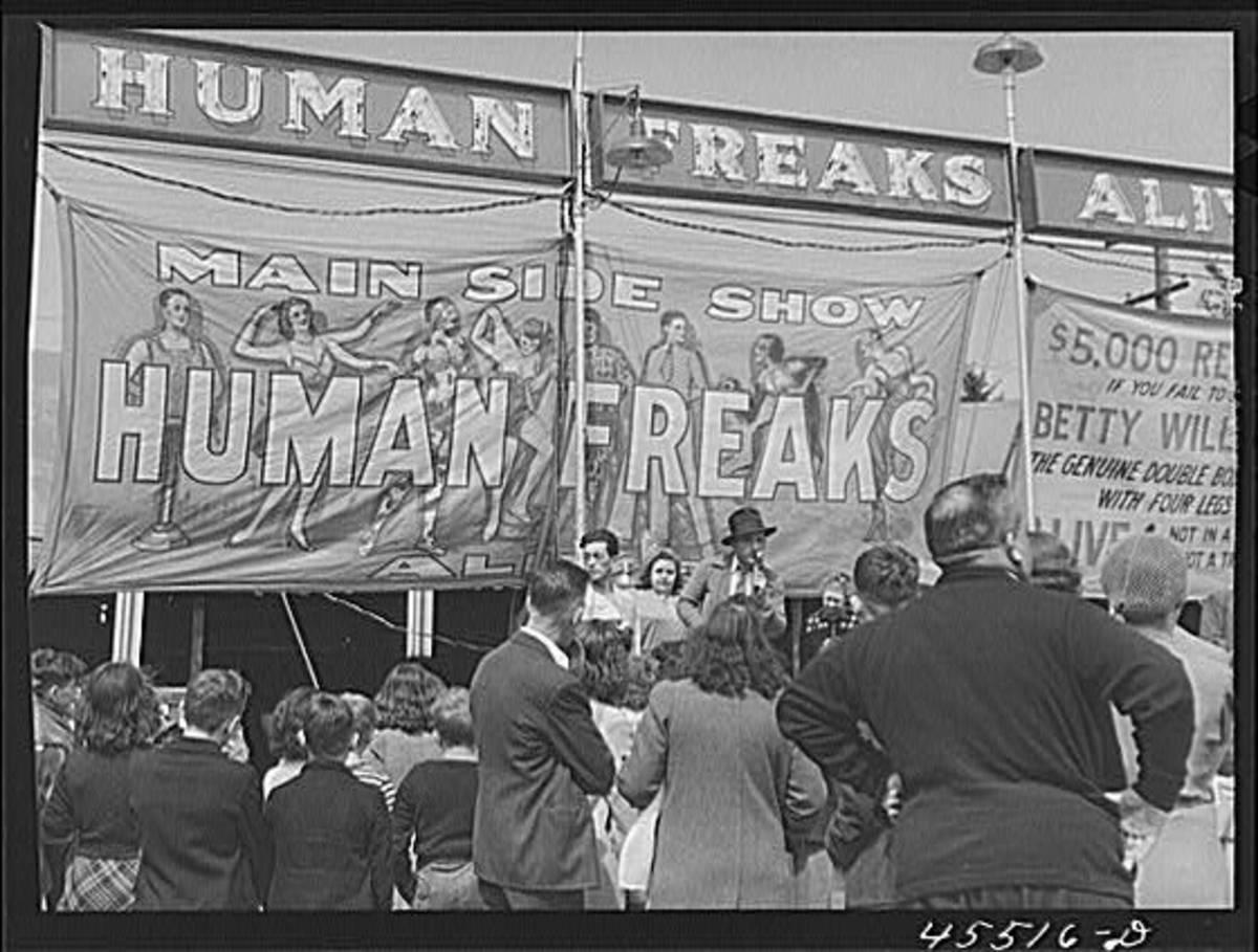A freak show at the Rutland Fair in Rutland, Vermont. September 1941