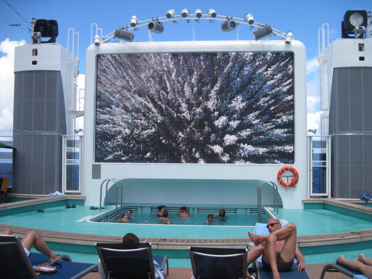 An over sized screen to watch Movies Under the Stars at night.