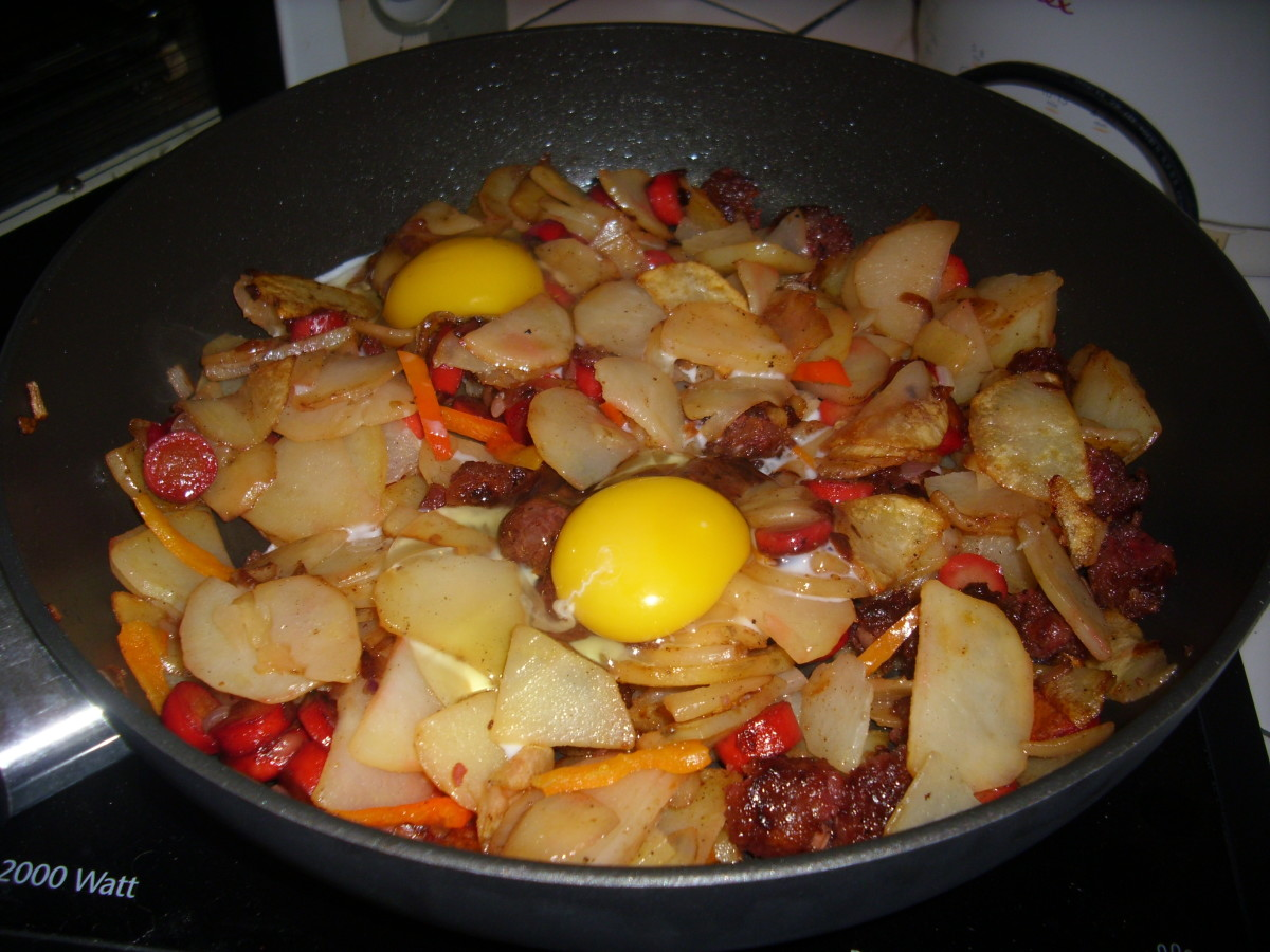 Fried Potatoes With Longganisa And Hotdog Sausages