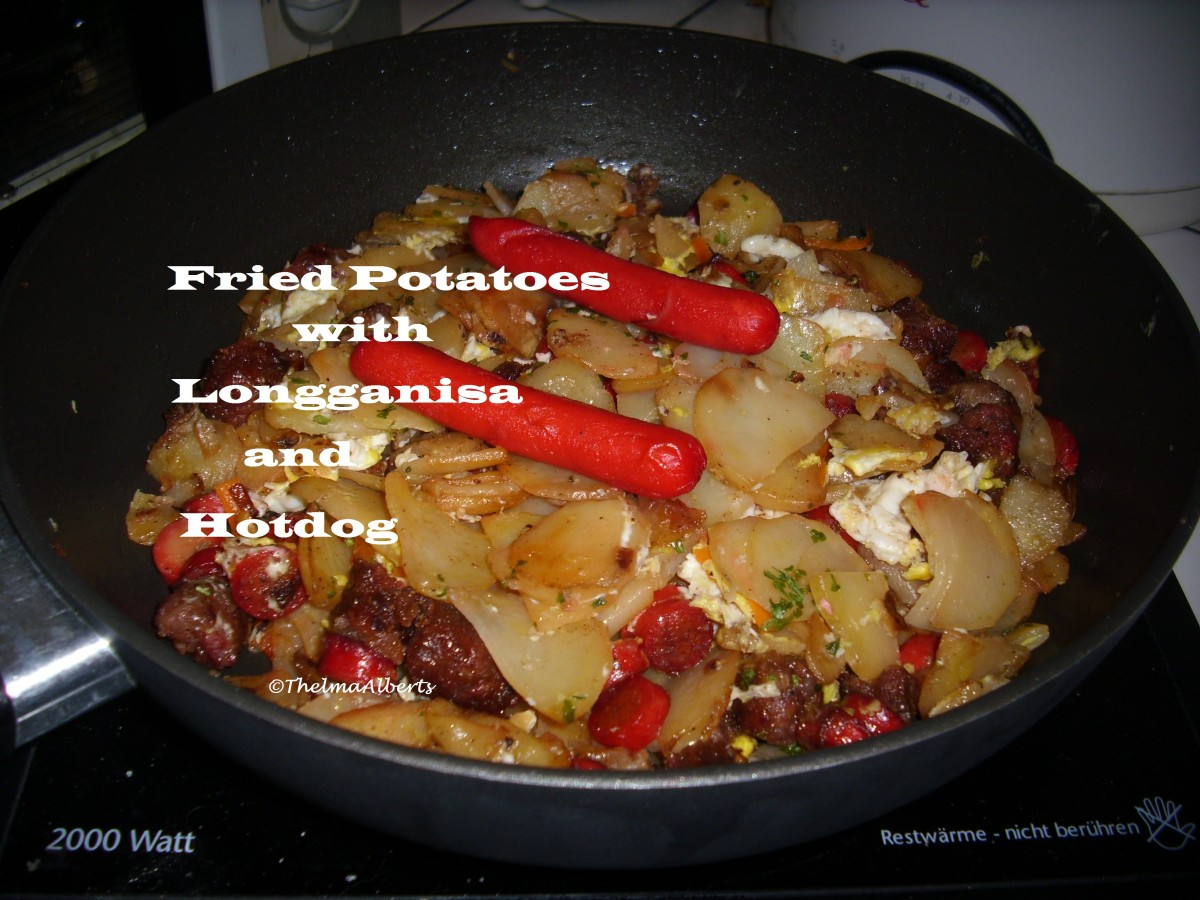Delicious Fried Potatoes With Longganisa And Hotdog Sausages