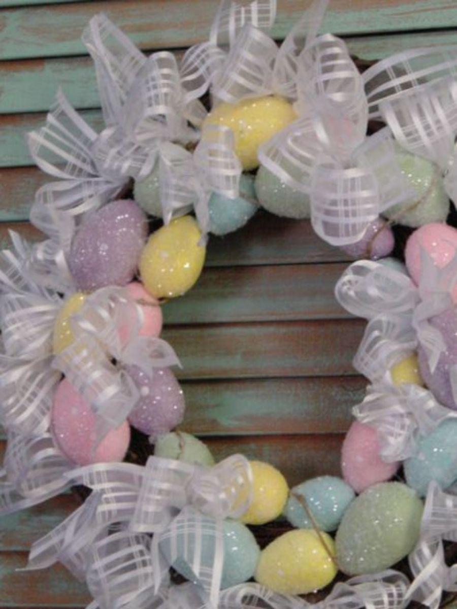sheer ribbon and egg wreath