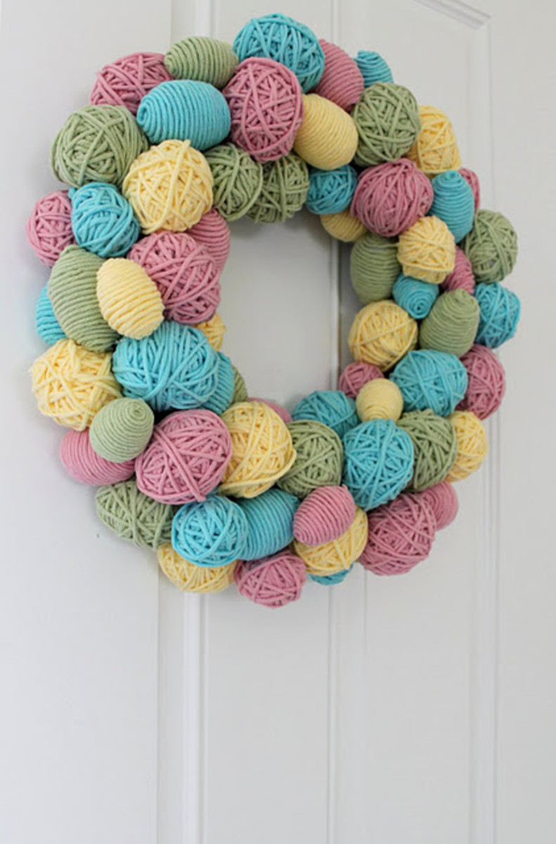 egg yarn wreath